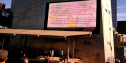 Flashing the Square videos at Federation Square, Melbourne Writers Festival, 2014